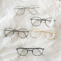Square Rounded Glasses by KOKORO Note: These glasses are non-prescription. Cute Glasses Frames, Wire Frame Glasses, Fake Glasses, Thin Frame Glasses, Flat Top Sunglasses, Round Lens Sunglasses, Cute Sunglasses, Sunglasses Women, Sunnies