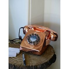 Shiny Retro phone, Vintage corded telephones in copper colour for old style retro looking homes, The no 1 retro gift for her and him at Smithers of Stamford online Shop Telephone Retro, Retro Phone, Royal Mail Post Office, Copper Highlights, Vintage Phones, Home Phone, Furniture Care, Wooden Crates, Copper Color