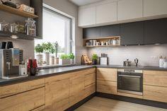 Modern Kitchen Interiors, Modern Kitchen Design, Interior Design Kitchen, Kitchen Pantry Design, Kitchen Decor, Small Kitchen Plans, Black Kitchen Countertops, Kitchen Colour Combination, Cuisines Design