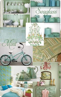 seafoam greens and blues, sand dunes tan, and fluffy cloud whites...design ideas to file away for the future