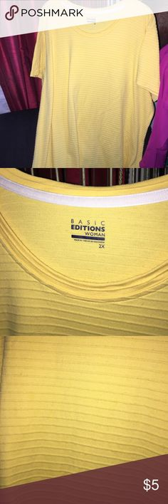 Cute yellow plus size tee Great plus size yellow short sleeve tee. Size 2x. Basic Editions Tops Tees - Short Sleeve