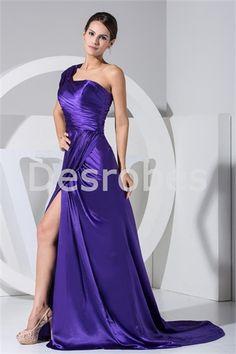 Robe de soirée à traîne balai une épaule fente latérale en satin textile élastique