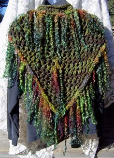 Herb Garden - Handmade Shawl with Extreme Fringe trim - another use for tailspun long locks yarns