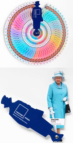 Queen Elizabeth Pantone Swatch Book. During her 60 year reign, her wardrobe has never lost its youthful and vibrant focus on colour. PANTONE and Leo Burnett London created this limited edition colour guide of the Queen's ensembles in honour of her Diamond Jubilee. The guide features some of the Queen's most notable colour choices including Primrose Yellow (the colour of her dress for William and Kate's wedding last year) or Crystal Blue (her most frequently worn colour group).