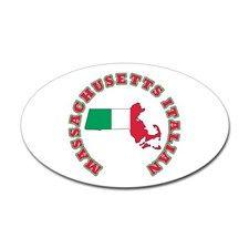 Massachusetts Italian Oval Sticker for