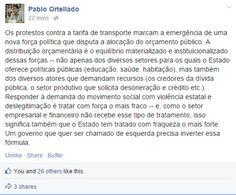 """""""Os protestos contra a tarifa de transporte marcam a emergência de uma nova força política que disputa a alocação do orçamento público"""". (Por Pablo Ortellado)"""