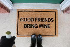Clever Doormats Good Friends Bring Wine Doormat
