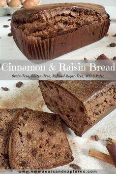 Cinnamon Raisin Bread by Emma Eats & Explores - Grain-Free, Gluten-Free, Refined Sugar-Free, Paleo, SCD, Specific Carbohydrate Diet, Vegetarian and Primal