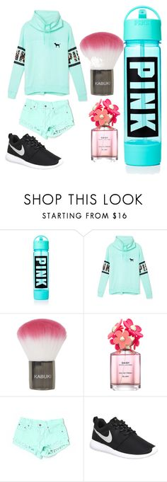 """Pinky"" by mikayla8h on Polyvore featuring Victoria's Secret, Topshop, Marc Jacobs, Carmar, NIKE, women's clothing, women, female, woman and misses"