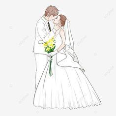 Groom Wedding Dress, Wedding Bride, Wedding Bouquets, Wedding Flowers, Wedding Dresses, Dress Png, European Dress, Wedding Illustration, Star Wedding