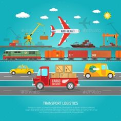 Worldwide operating logistics company cargo transportation and delivery service concept flat banner abstract vector illustration.