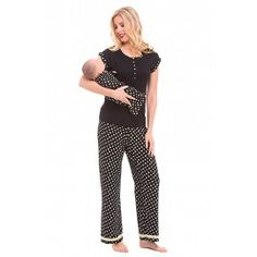 d26715dcf527d Olian Maternity Black Rose Nursing Pajama Set for $89.00. Made of 100% soft  cotton. TummyStyle Maternity & Baby