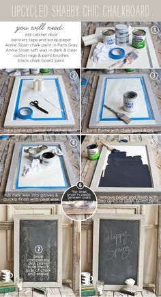 DIY: upcycled shabby chic chalkboard As if old cabinet doors were found everywhere. I think a ugly picture would work