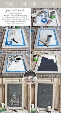 DIY: upcycled shabby chic chalkboard