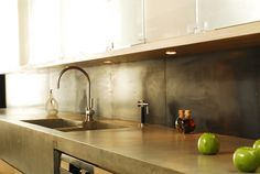Concrete kitchen countertops with integrated sink - modern - Kitchen Countertops - New York - Concrete Shop Concrete Kitchen Counters, Concrete Sink, Laminate Countertops, Kitchen Cabinetry, Concrete Cement, Polished Concrete, Kitchen Redo, Kitchen And Bath, New Kitchen