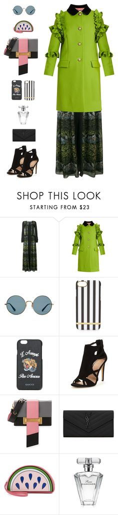 """""""Gucci Ruffle-Trimmed Single-Breasted Wool Coat"""" by sol4nge ❤ liked on Polyvore featuring Alberta Ferretti, Gucci, Ray-Ban, Prada, Yves Saint Laurent, Yazbukey and Avon"""