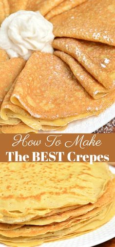 Crepe are delicately soft with a little crunch on the ends. Learn how to make th… Crepe are delicately soft with a little crunch on the ends. Learn how to make these soft and buttery classic Crepes in no time and a few simple ingredients. Crepe Recipes, Brunch Recipes, Gourmet Recipes, Dessert Recipes, Cooking Recipes, Crepe Recipe No Eggs, Simple Crepe Recipe, Desserts, Brunch Menu