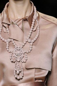 Beaded blush necklace - ornate statement jewellery; runway elegance // Lanvin