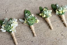 Succulent and fynbos boutonnieres- for Ellie's wedding someday
