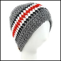 Charcoal Gray, Black, White & Red Hat