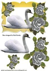 Mooie Witte Zwaan Met Zilveren Rozen