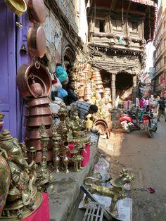 The metal craftsmen and traders of Old Town, Kathmandu. Nepal.