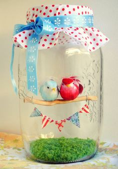 DIY Heart Crafts Ideas - Love Birds Diorama - Click Pic for 37 Homemade Valentine Decorations