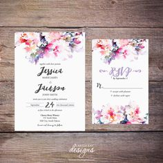 Printable Watercolor Floral Wedding by LarissaKayDesigns on Etsy