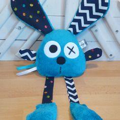 Doudou lapin bleu - bleu marine