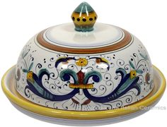 Ceramic Maiolica Covered Butter Dish Platter Ricco Deruta   #TuscanyAgriturismoGiratola
