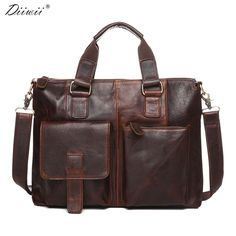 Diiwii New Genuine Leather Men Business Briefcase Laptop bag Casual Messenger Bags Handbags Shoulder Crossbody Bag Male Tote
