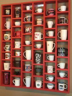 22 DIY Coffee Bar Ideas — Make Your Own Coffee Station - Coffee bar home Mug Holder, Mug Rack, Coffee Mug Display, Coffee Cups, Coffee Coffee, Coffee Cup Storage, Coffee Cup Holder, Black Coffee, Coffee Zone