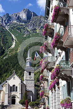Pueblo de Chamonix Mont Blanc, Francia