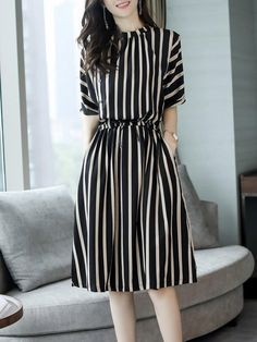 667a1ca721414 Stripes Half Sleeve Gathered Pockets Plus Size Dress