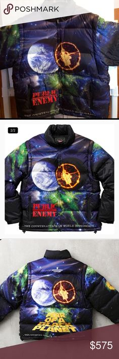 Supreme UNDERCOVER Public Enemy Puffy Jacket 🆕 NWT | SOLD OUT ONLINE   Water resistant nylon ripstop with quilted down fill and removable sleeves. Full zip closure with elastic drawcord at hem and adjustable velcro closures on cuff. Zip pockets at lower front and internal pocket with velcro closure. Original album artwork from Public Enemy's Fear of a Black Planet. Supreme Jackets & Coats Puffers