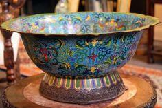 """Massive Cloisonne Bowl 17.5"""" diameter."""