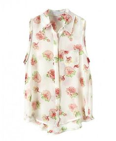 Vintage Sleeveless Chiffon Blouse