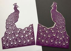 Original Linocut Print Peacock in Purple - Handmade by Claire McKay