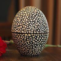 Eggshell mosaic box, 'Rain'