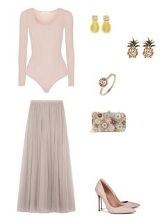 Time for Fashion » Consultas de Moda. Pink bodysuit+pink tulle maxi dress+pink stilettos+pink flower embellishment clutch+pink ring+earrings. Spring Evening Wedding Guest Outfit 2018