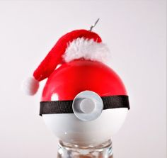 Pokeball Christmas Ornament, Hand Painted