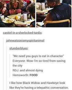 Eating in character