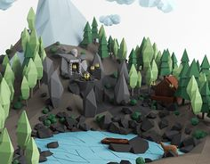 "Check out new work on my @Behance portfolio: ""Mountain Temple /// Low poly"" http://on.be.net/1LXAvEm"