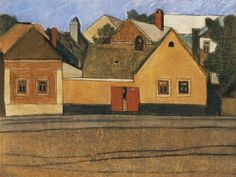 Vajda Lajos - Houses in Szentendre with Blue Sky, 1935