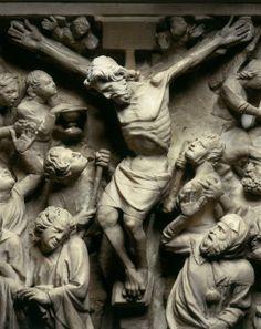 Giovanni Pisano, Chaire de l'église Sant'Andrea de Pistoia (Toscane), 1301, marbre : détail du panneau de la Crucifixion