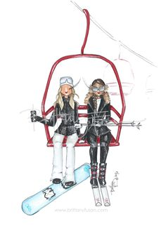 On the way to the peak for another day on the slopes | Apres ski | fashion illustration | slope style | Brittany Fuson | winter