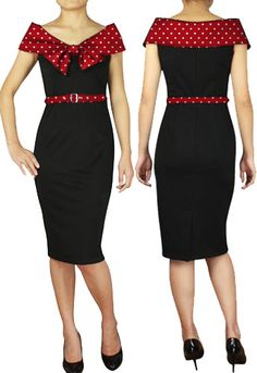 1950s Bow Collar Pencil Dress by Amber Middaugh #Vintage #Wiggle Dress  #Rockabilly #1950