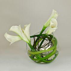 White Calla Lily Round Glass Vase