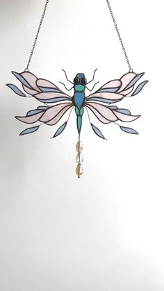 Dragonfly Suncatcher Stained Glass Window Hangings Hancrafted Dragonfly Ornament for Window Dragonfly Stained Glass, Stained Glass Lamp Shades, Stained Glass Window Film, Stained Glass Quilt, Making Stained Glass, Stained Glass Ornaments, Custom Stained Glass, Stained Glass Christmas, Stained Glass Suncatchers