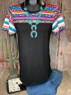 c76afdc3bab9b6 Serape   Leopard Ring Sleeve Top - Ropes and Rhinestones